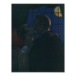 Midnight Rendezvous, Lovers by the Full Moon 4.25x5.5 Paper Invitation Card