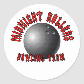 Midnight Rollers Bowling Team Classic Round Sticker