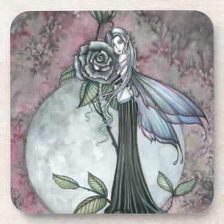 Midnight Rose Fairy Fantasy Art Molly Harrison Beverage Coasters