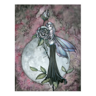 Midnight Rose Fairy Postcard by Molly Harrison