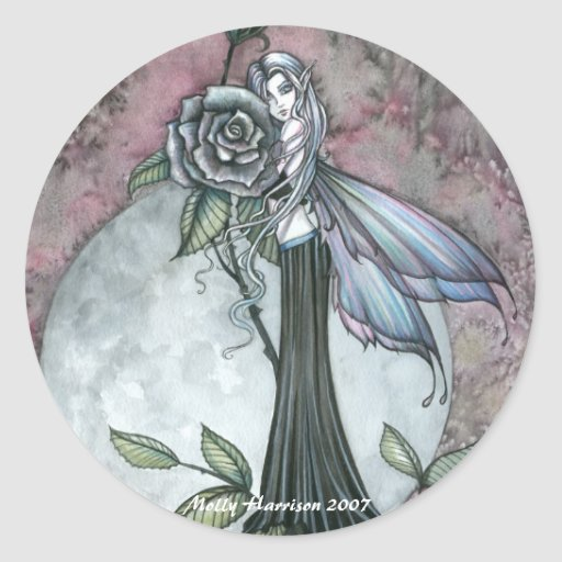 Midnight Rose Fairy Stickers by Molly Harrison