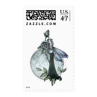 Midnight Rose Gothic Fairy Moon Postage