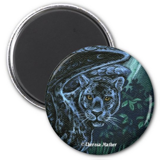 Midnight Sentinel Panther Round Magnet