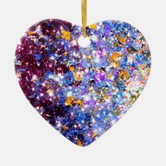 MIDNIGHT SERENADE Blue Purple Stars Sparkle Ombre Ceramic Ornament