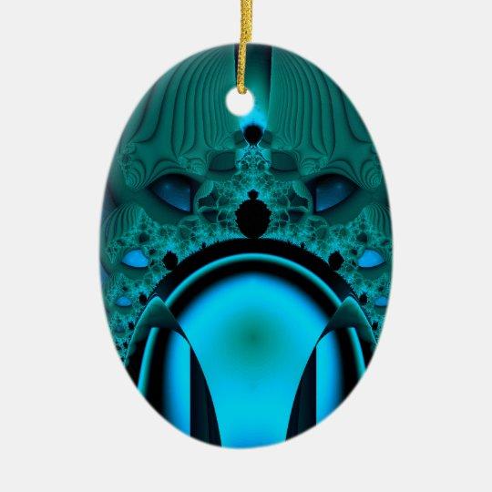Midnight Skullcap Fractal Ceramic Ornament
