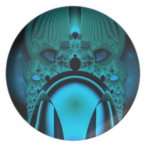 Midnight Skullcap Fractal Dinner Plates