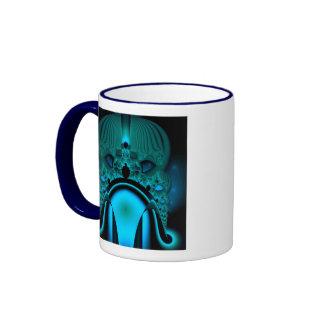 Midnight Skullcap Fractal Ringer Mug