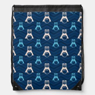 Midnight, Sky Blue, Tan, Bowling Chevron Drawstring Bag