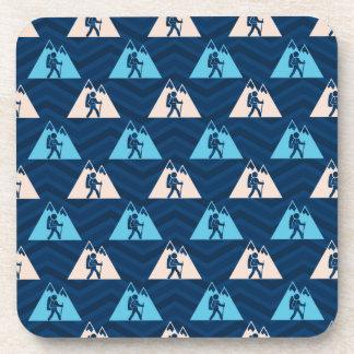 Midnight, Sky Blue, Tan, Hiking Chevron Coaster