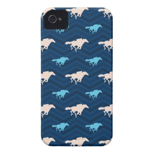 Midnight, Sky Blue, Tan, Horse Racing Chevron iPhone 4 Cases
