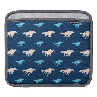 Midnight, Sky Blue, Tan, Horse Racing Chevron iPad Sleeves