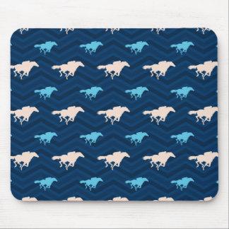 Midnight, Sky Blue, Tan, Horse Racing Chevron Mousepads