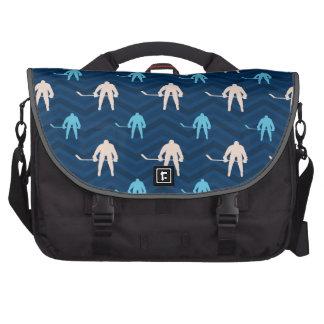 Midnight, Sky Blue, Tan, Ice Hockey Chevron Laptop Bag