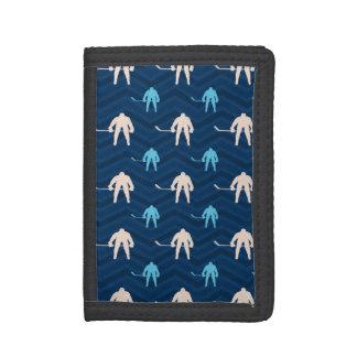 Midnight, Sky Blue, Tan, Ice Hockey Chevron Tri-fold Wallets