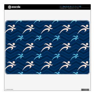 Midnight, Sky Blue, Tan, Running; Runner Skin For MacBook Air
