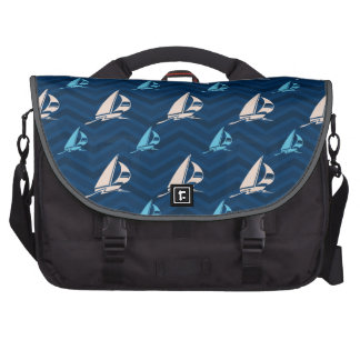 Midnight, Sky Blue, Tan, Sailing; Sailboat Chevron Laptop Messenger Bag