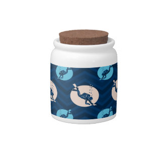 Midnight, Sky Blue, Tan, Scuba Diver; Diving Candy Jars