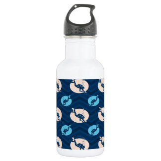 Midnight, Sky Blue, Tan, Scuba Diver; Diving Stainless Steel Water Bottle