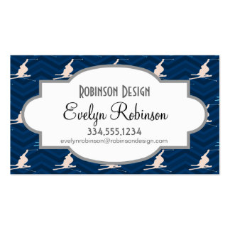 Midnight, Sky Blue, Tan, Snow Skiing Chevron Double-Sided Standard Business Cards (Pack Of 100)