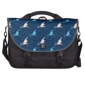 Midnight, Sky Blue, Tan, Snow Skiing Chevron Commuter Bag