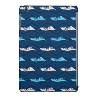 Midnight, Sky Blue, Tan, Speed Boat Chevron iPad Mini Cover