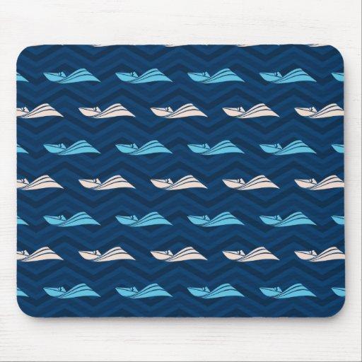 Midnight, Sky Blue, Tan, Speed Boat Chevron Mouse Pad