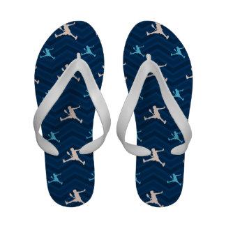 Midnight, Sky Blue, Tan, Tennis Chevron Flip Flops