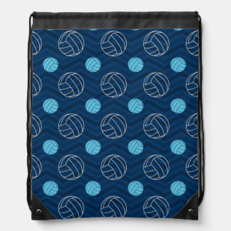 Midnight, Sky Blue, Tan, Volleyball Chevron Drawstring Bag