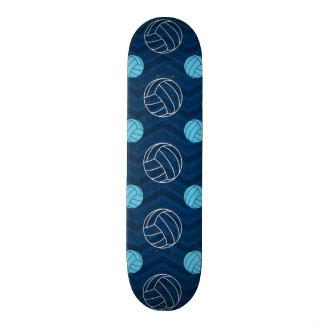 Midnight, Sky Blue, Tan, Volleyball Chevron Skate Board