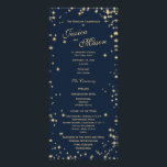 """Midnight Sky Twinkle Navy Blue and Gold Rack Card<br><div class=""""desc"""">Midnight sky twinkle design with golden stars and navy blue background to compliment wedding invitation set.  Personalize and add lines of text and colors as needed.</div>"""