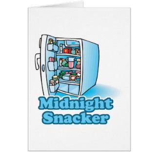 midnight snacker open fridge greeting cards