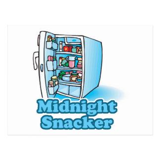midnight snacker open fridge post card