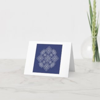 Midnight Snow Crystal Folded Note Card