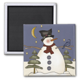 Midnight Snowman Christmas and Winter Magnet