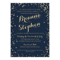 Midnight Starry Night Twinkle Sky Wedding Invitation