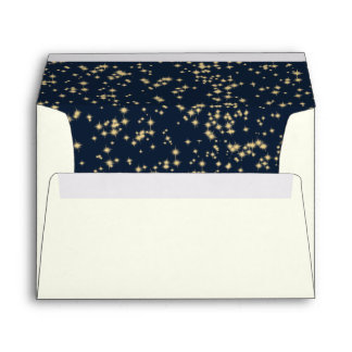 Midnight Stars Twinkle Sky Navy Blue Envelope
