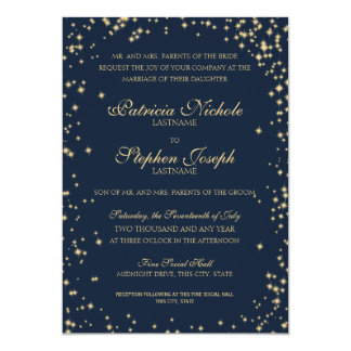 Midnight Stars Twinkle Sky Wedding Card