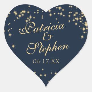 Midnight Stars Twinkle Wedding Heart Sticker