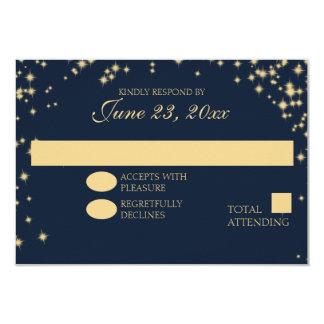 Midnight Stars Twinkle Wedding Response Card