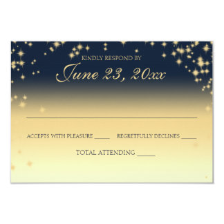 Midnight Stars Twinkle Wedding Response Card