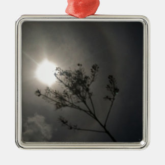 Midnight Sun Square Metal Christmas Ornament
