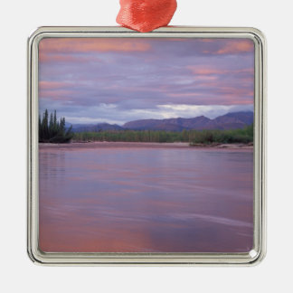 midnight sun over the MacKenzie River, off the Square Metal Christmas Ornament