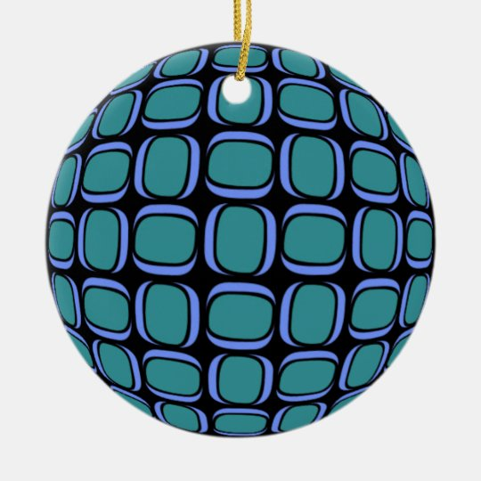 Midnight Teal Tilted Box Pattern Ceramic Ornament