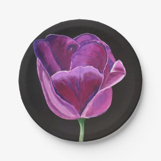 "Midnight Tulip 7"" Paper Plate Set of 8"