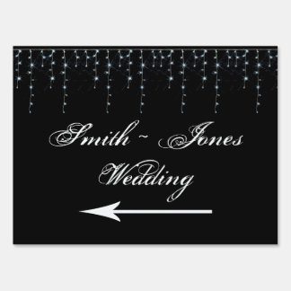 Midnight Vineyard Wedding Direction Sign