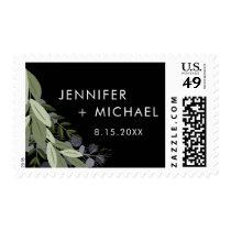 Midnight Wedding Sprigs Postage Stamp