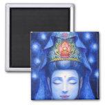 Midnight Zen Meditation Kuan Yin 2 Inch Square Magnet