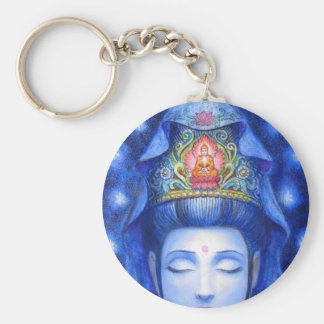 Midnight Zen Meditation Kuan Yin Basic Round Button Keychain