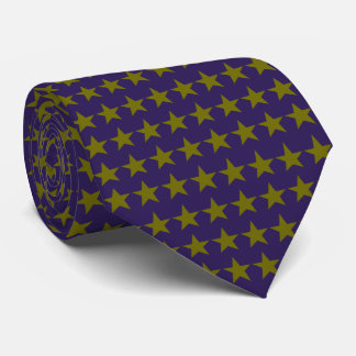 MidnightBlue and Olive Stars Pattern Tie