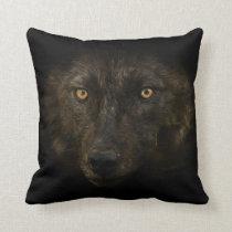 Midnights Gaze - Black Wolf Wild Animal Wildlife Throw Pillow